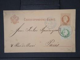 """FRANCE-marque D Entree De """"AUTR. AVRICOURT. 3 """"sur Entier Postal De Vienne Pour Paris En 1878   A  VOIR P4495 - Poststempel (Briefe)"""