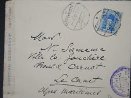 EGYPTE- Enveloppe De Alexandrie Pour Le Cannet Avec Censure En 1940  A  VOIR P4509 - Egypt