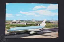 Vintage Airlines Advertising Postcard - Amsterdam/ Holland - International Airport Schiphol - KLM Airlines Plane - Dirigibili