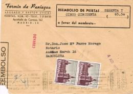 12773. Frontal  Certificado Contra Reembolso MADRID Central 1962 - 1961-70 Storia Postale
