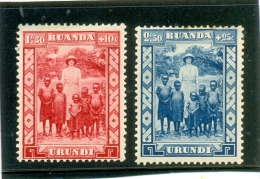 1936 RUANDA URUNDI  Y & T N� 109  -110  ( * ) Comm. Reine Astrid -