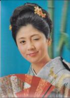 Carte Stéréoscopique 3D. Fille En Kimono, éventail Et Bambous. Clin D´œil. - Cartes Stéréoscopiques