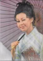 Carte Stéréoscopique 3D. Fille En Kimono Et Ombrelle.. Clin D´œil. - Cartes Stéréoscopiques