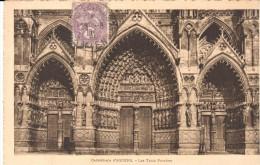 POSTA-  AMIENS  -FRANCIA   -   CATHÉDRALE  - LES TROIS PORCHES - Amiens