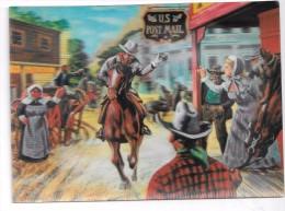 """Carte Stéréoscopique 3D. Cow-boy U.S. Post Mail Au Galop. """"Le Télégraphe à Cheval"""" D´après G. De Sainte-Croix - Cartes Stéréoscopiques"""