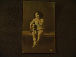 Cpa Enfant Et Petit  Chien  1912 Child And Dog - Portraits