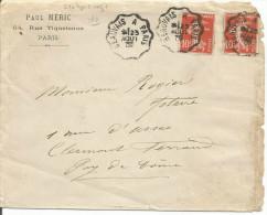 AMBULANT DE BEAUVAIS A PARIS SUR LETTRE DU 23/8/1909 - Marcophilie (Lettres)