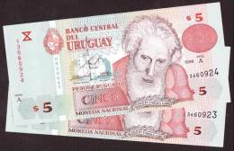 * URUGUAY: 5 Pesos (1998) UNC - 2 Billetes Correlativos - Uruguay