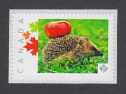 """HEDGEHOG With An Apple MNH Canada Post 2014 Personalized Picture Postage Stamp, """"P""""- Permanent, Domestic Rate. (p11sn1) - Stamps"""