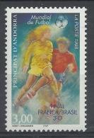 Andorra (French Adm.), FIFA World Cup, Football, Soccer, Overprint, 1998, MNH VF - French Andorra