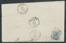 1867 REGNO USATO EFFIGIE 20 CENT FRAMMENTO ANNULLO NUMERALE - AA013 - 1861-78 Vittorio Emanuele II