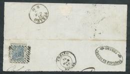 1867 REGNO USATO EFFIGIE 20 CENT FRAMMENTO ANNULLO NUMERALE - AA020 - 1861-78 Vittorio Emanuele II