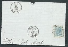 1867 REGNO USATO EFFIGIE 20 CENT FRAMMENTO ANNULLO NUMERALE - AA022 - 1861-78 Vittorio Emanuele II