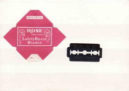 Old Razor Blade+wrappers-Rasierklinge+Verpackungen-Enveloppeur+lames De Rasoir-LAMETTA DA BARBA, Rose - Lames De Rasoir