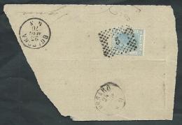 1867 REGNO USATO EFFIGIE 20 CENT FRAMMENTO ANNULLO NUMERALE - AA050 - 1861-78 Vittorio Emanuele II