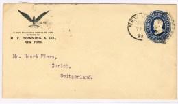 T4. Entier Postal + Repiquage. Roue Ailée. New-york 22 DEC 90. Verso Zürich 2.1.91.