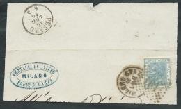 1867 REGNO USATO EFFIGIE 20 CENT FRAMMENTO ANNULLO NUMERALE - AA084 - 1861-78 Vittorio Emanuele II