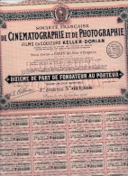 SOCIETE DE CINEMATOGRAPHIE ET DE PHOTOGRAPHIE -KELLER - DORIAN -1928 - Aandelen