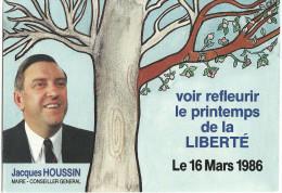 Carte Document De Jacques HOUSSIN Maire-Conseiller Général  16 Mars 1986 - Autres