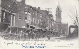 Wilmington Delaware, King Street Market Scene, Wagons, c1900s Vintage Postcard