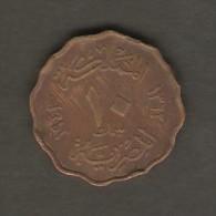 EGYPT    10 MILLIEMES  1943 (AH 1362)  (KM # 361) - Egypt