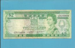 FIJI ISLANDS - 2 DOLLARS - ND ( 1980 ) - Pick 77.a - Sign. D. J. Barnes And H. J. Tomkins - Train - 2 Scans - Fidji