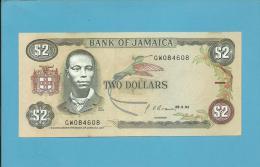 JAMAICA - 2 DOLLARS - 1992 - Pick 69.d - Sign. 10 - AUNC. - 2 Scans - Jamaica