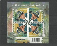 103..Hungary 2015. Frank Sinatra Singer Was Born 100 Years Ago Complete Sheet - MNH - Unused Stamps