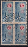 First Day Postmark On Mint Block Of 4,  India 1961,  Industries Fair, Exposition, , As Scan - Blocks & Sheetlets