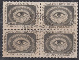 First Day Postmark On Mint Block Of 4 1962, Ophthalmology Congress, Eye Health, Medicine, India, As Scan - Blocks & Sheetlets