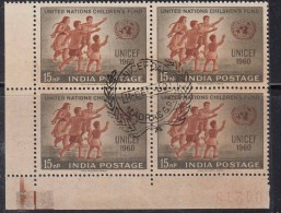 First Day Postmark On Mint Block Of 4 1960,  UNICEF Day,  India - Blocks & Sheetlets