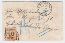 1871, 10 C. Pour Allemagne!!, Rare, Taxee !   # 1466 - Alsace-Lorraine