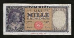 ITALIA - BANCA D´ ITALIA - 1000 Lire ITALIA (Decr. 10 / 02 / 1948 - Firme: Einaudi / Urbini) - REPUBBLICA ITALIANA - [ 2] 1946-… : Repubblica