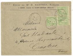 Equerre De 3 Type SAGE 5c Vert Jaune N Sous B  Sur Enveloppe étude Barthès, Notaire. - 1877-1920: Semi Modern Period