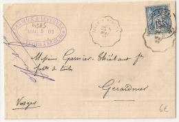 GARE DE DOUAI (57) Nord  + Convoyeur De Ligne LILLE Sur Lettre Au Type SAGE. - Postmark Collection (Covers)