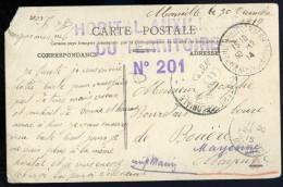 Cpa Du 13 Marseille  Avec Cachet Hôpital Auxiliaire Du  Territoire No 201  AG15 14 - Marcophilie (Lettres)