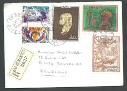! - 1976 - Timbres Sur Lettre (5 Obl) - Recommandé - De France (Senantes) Vers Belgique (Bruxelles) - France