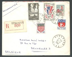 ! - 1966 - Timbres Sur Lettre (5 Obl) - Recommandé - De France (Senantes) Vers Belgique (Bruxelles) - France