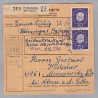 Heimat DE NS WEHRINGEN 1957-02-16 Paketkarte Nach Mennewitz - [7] République Fédérale