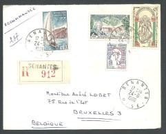 ! - 1966 - Timbres Sur Lettre (4 Obl) - Recommandé - De France (Senantes) Vers Belgique (Bruxelles) - France
