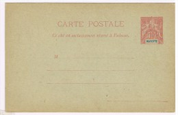 C3. Type Groupe. Mayotte. Entier Postal Neuf CP  10c Rouge. - Mayotte (1892-2011)