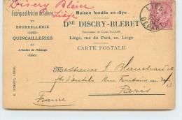 LIEGE - Dné Discry Bleret; Rue Du Pont 20; Fabrique D'articles De Sellerie. - Liege