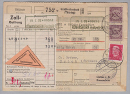 Heimat DE Thür. GROSSBREITENBACH 1932-01-16 NN Paketkarte Nach FrickAG - Deutschland