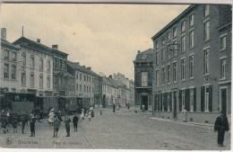Gosselies - Place du Calvaire - tr�s anim�e - tram � vapeur - 1910 - Edit. Miaux/Nels