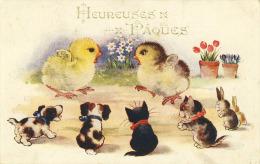 Chats  Heureuses Pâques Poussins Chiens Lapins Chat    Cpa - Chats