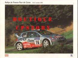 RALLYE AUTOMOBILE Du TOUR De CORSE - VOITURE PEUGEOT 206 - AUTO COURSE - PUBLICITE TOTAL & MICHELIN - 30x40 - Cars