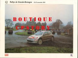RALLYE AUTOMOBILE De GRANDE BRETAGNE - VOITURE PEUGEOT 206 - AUTO COURSE - PUBLICITE TOTAL & MICHELIN - 30x40 - Cars