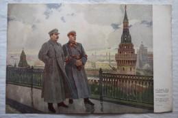 """USSR, Original Old Soviet Propaganda Poster """"Stalin And Voroshilov In Kremlin"""" - 1951 - Propagande - Affiches"""