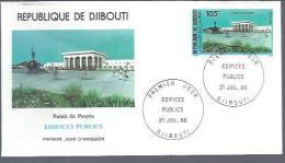 """DJIBOUTI FDC 21/7/86 : Edifices Publics """" Palais Du Peuple"""" - Architecture"""