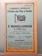 FABRIQUE GENERALE D ARTICLES POUR FETES ET SOCIETES / ETS MENDEZ AUDOUIN 1936 - Publicités